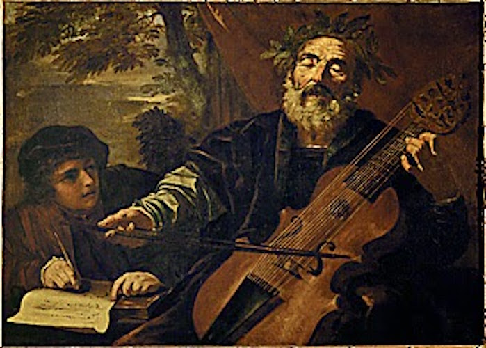 The poet Homer, with a lyra da gamba, an instrument used to accompany ballads in the 17th century. Homer's recitation is eagerly noted down by the young man at the poet's side. Canvas (1663-1666), 95 x 131 cm Inv. 715